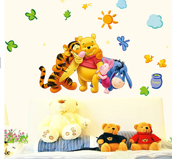 Winnie the Pooh friends wall stickers for kids rooms nursery wall stickers trumpet decorative stickers TC1068 Pooh and Tigger