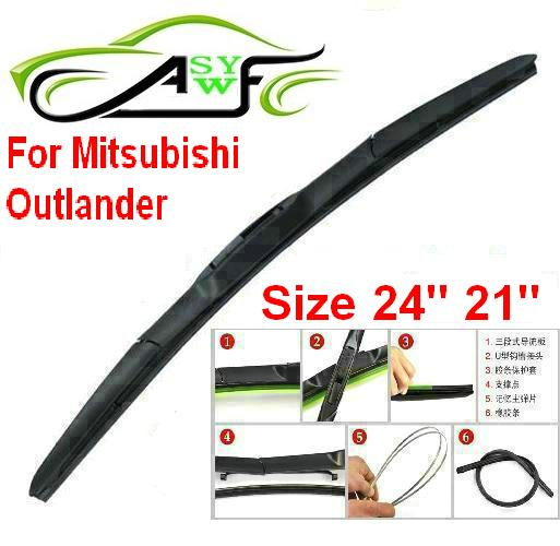 """Free shipping car wiper blade For Mitsubishi Outlander Size 24"""" 21"""" Soft Rubber WindShield Wiper Blade 2pcs/pair(China (Mainland))"""