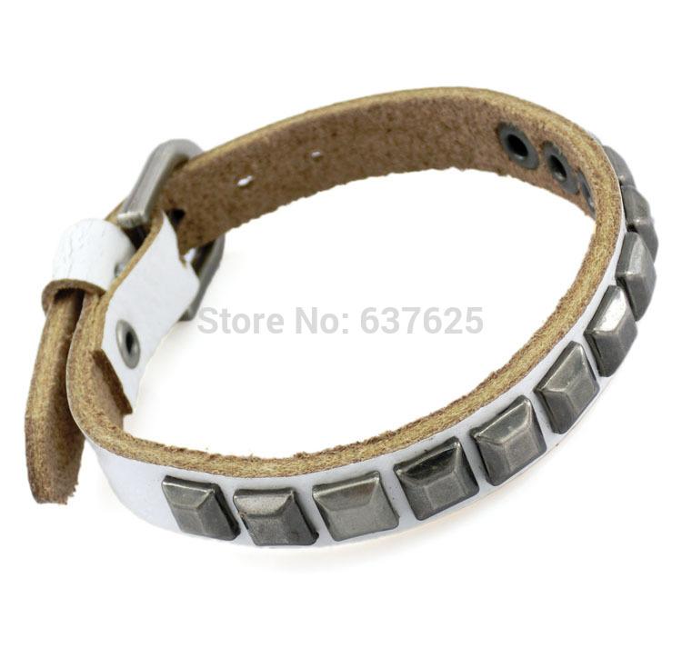 2014 New Style Fashion Punk Style Leather Bracelets Square Rivet Bracelet For Unisex Gift Free Shippingroxi(China (Mainland))