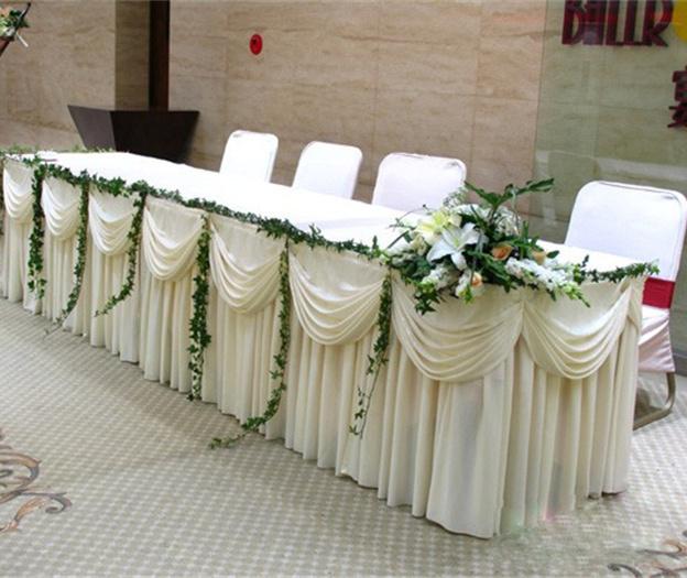 20ft l 75cm h wedding table skirt white ice silk solid for Table skirting