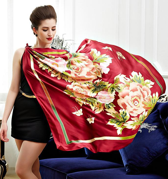 NEW! Flower Butterfly Pattern Women Square Scarves,100% Pure Silk Satin Red Lady Scarf,Fashion Women's Printed Shawl 110*110CM