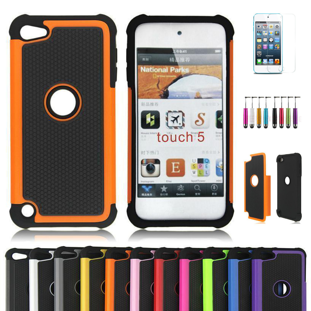 Rugged non-slip Impact Rubber Hard Case Cover For Apple iPod Touch 5 5th 5G Gen / Touch 6 6th + Free Screen Protector(China (Mainland))