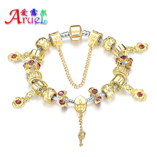 2016 Aliexpress Hot Sell Fashion Heart Charm Bracelets & Bangles Gold Plated Bracelets For Women Pulsera Famous Brand jewelry(China (Mainland))