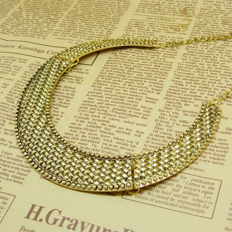 Hot Selling Free Shipping Vintage Metal Knitted Pattern Bronze Color Collar Necklace N606(China (Mainland))