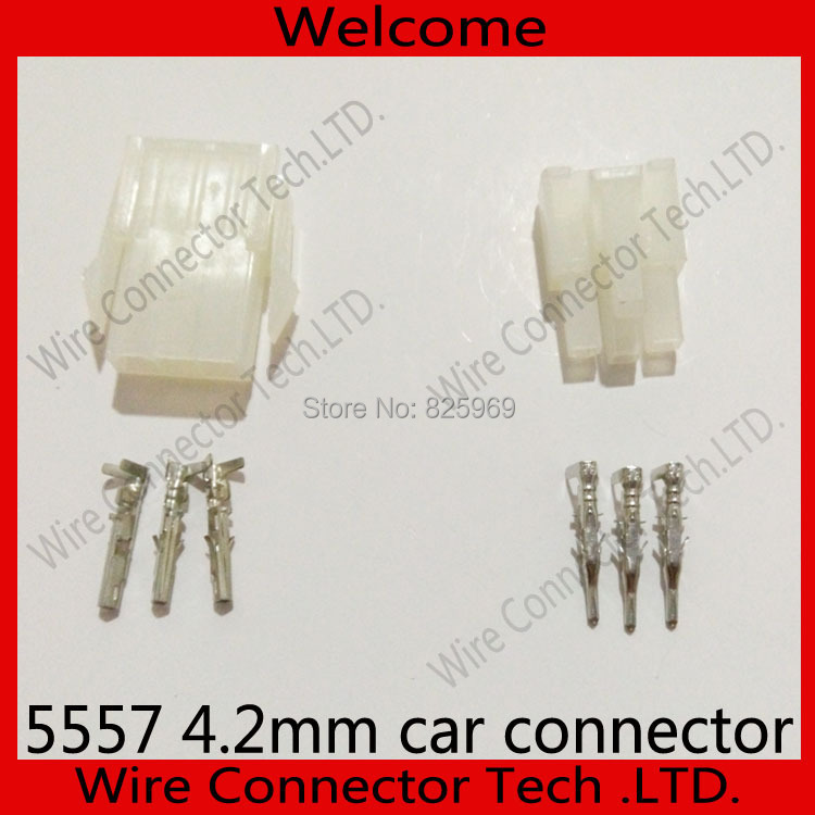 Free Shipping 200sets=1600pcs 3 Pin/way 4.2mm 5557 wiring terminal Electrical connector kit (Housing+Terminal) for car/boat ect.<br><br>Aliexpress