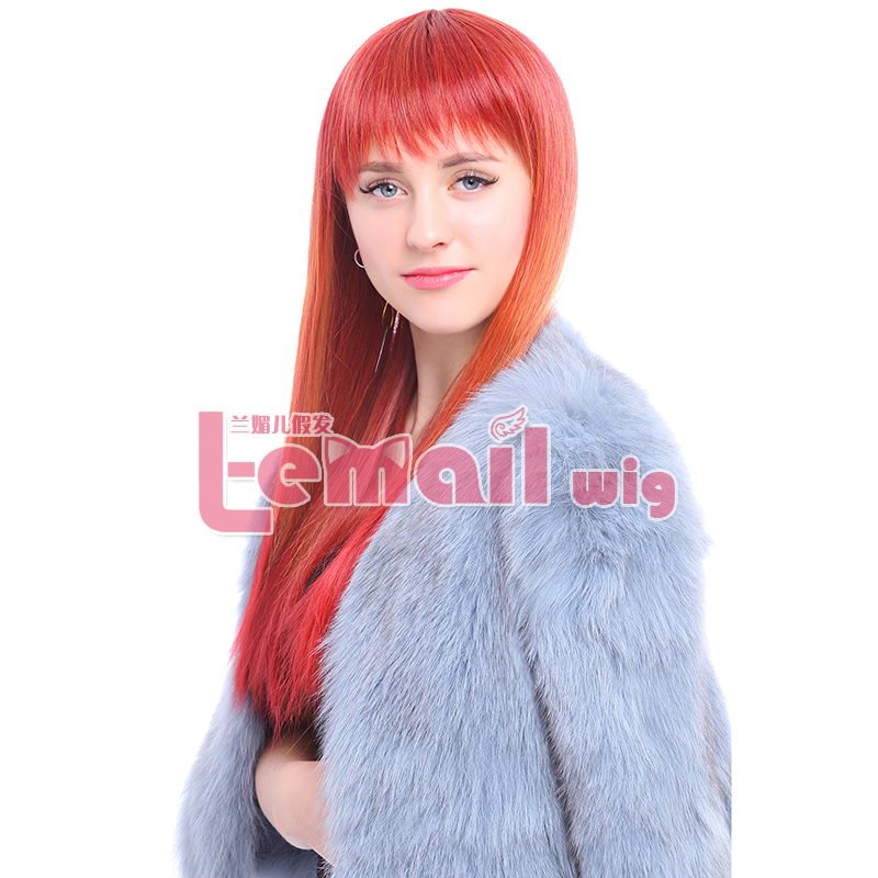Free Shipping Fashion Women 60cm Straigth Long Orange Wig with Neat Bang Natural Heat Resistant Synthetic Wigs Pelucas<br><br>Aliexpress