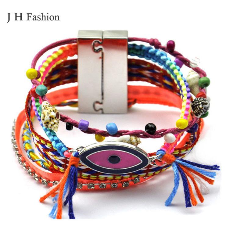 Bohemian handmake multicolor evil eye bracelet pulseras magnet wrap bracelet bresilien(China (Mainland))