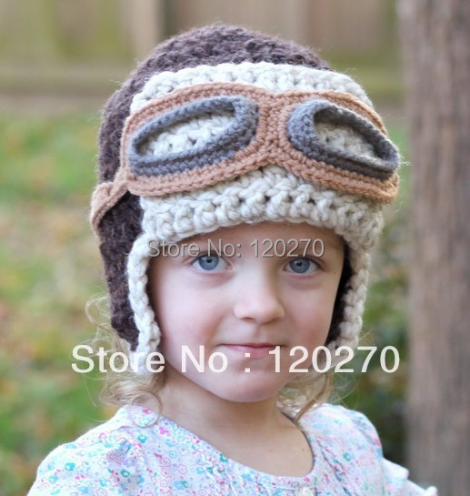 Knitting Patterns Hats Animals : Free Shipping Handmade Crochet Aviator Hat Pattern Knitted Animal Cartoon Cap...