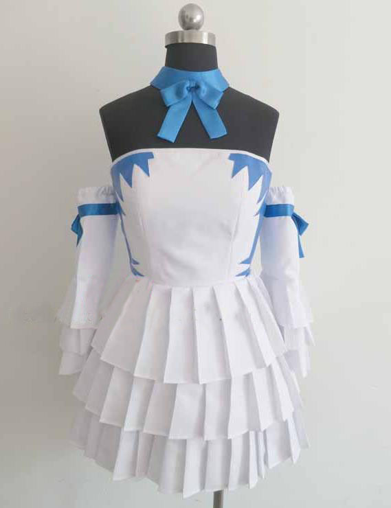 Free Shipping Custom Made Fairy Tail Cosplay Lucy Heartfilia White Dress Costume