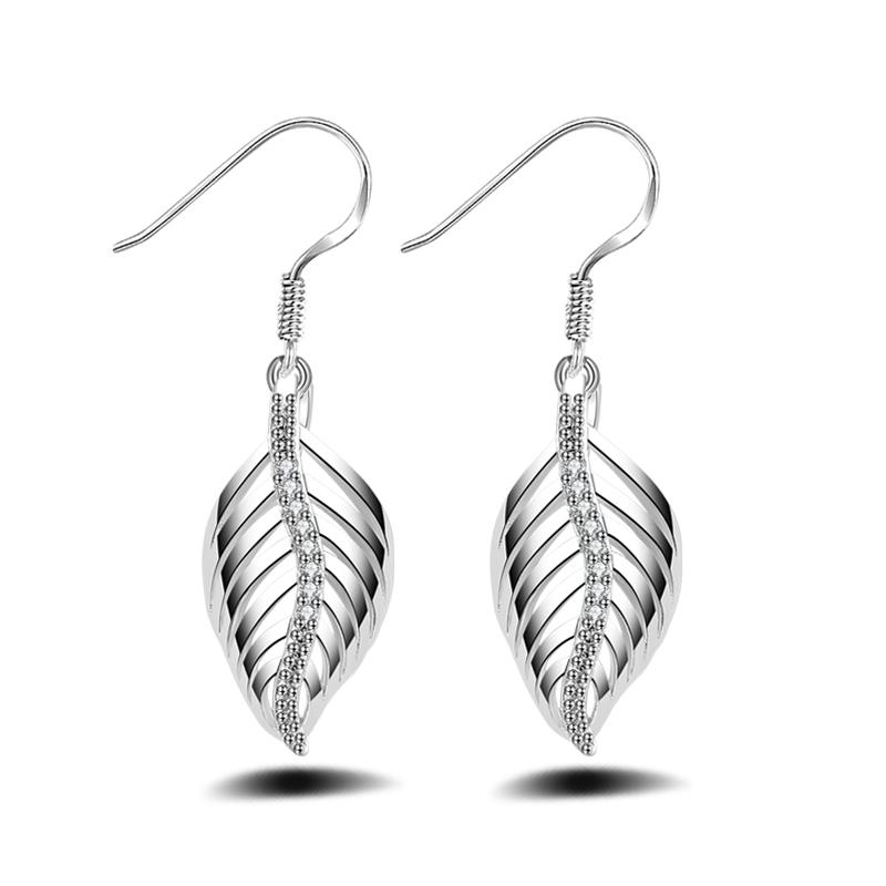 Hot Sale Silver Leaf Dangle Earring CZ Diamond Earring Female pendientes(China (Mainland))