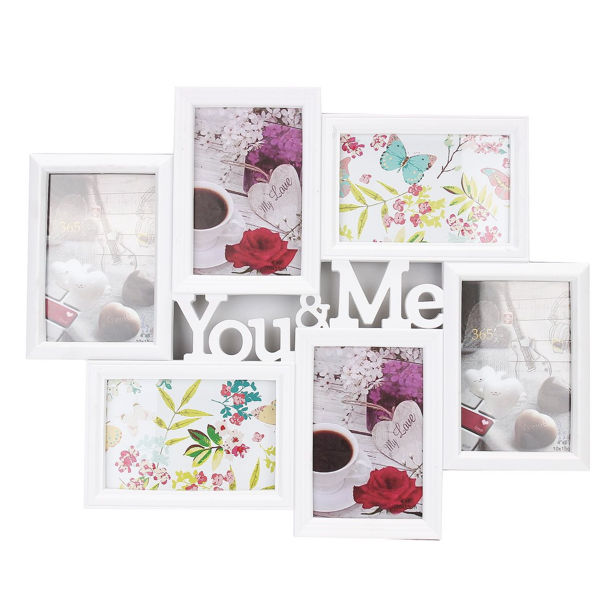 You&Me Pictures Display Photo Frame 6 Images Wall Decor Collage Gift 6 Inch Photo Love Theme Frame Home Art Wall Mural Decor(China (Mainland))