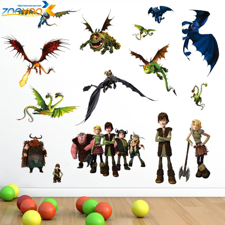 1427* how to train your dragon 2 stickers zooyoo1427 3d movie wall decals boys room decorations hot selling kids room wall arts(China (Mainland))