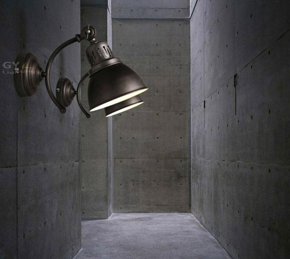 Фотография AC100-240V Louis Poulsen scone light E27 plated american retro iron wall lamp Antique industrial black stair lighting
