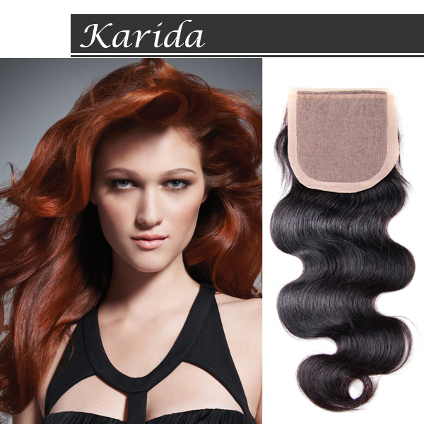 Karida Hair Knots 4 x 4 Karida , DHL Silk Base Closure-Brazilian Body Wave 8a brazilian lace frontal closure body wave 13x4 with baby hair bleached knots free middle 3 parts frontals dreaming queen hair