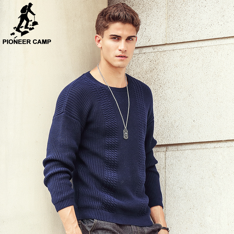 Pioneer Camp Top Quality Famous Brand 2016 New Fashion Men Sweaters and Pullovers Criss-Cross knitting Sweater Men 3XL 611226