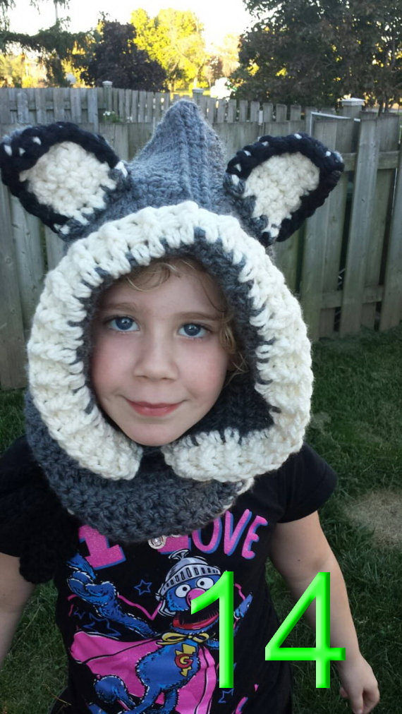 childrens Hooded Cowl Animal Hat ,baby Hooded Scarf &amp; Crochet Hoodie , crochet Chunky Hooded Cowl , Animal Scarf Grey Wolf hats<br><br>Aliexpress