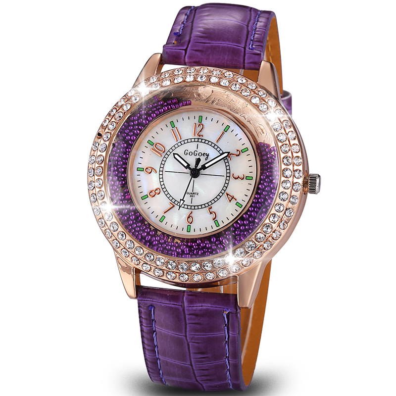 Relogio Feminina 2015 New Trendy Style Rhinestone Watches Women Quartz Watch Fashion Casual Leather Wristwatches Reloj Mujer(Hong Kong)