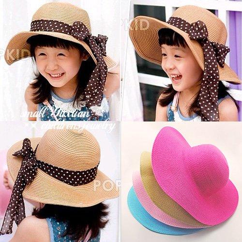 Sun visor hat female children Summer Wide Large Brim floppy hat can folding good beach caps Sun Hat for girl baby 3colors!C015(China (Mainland))