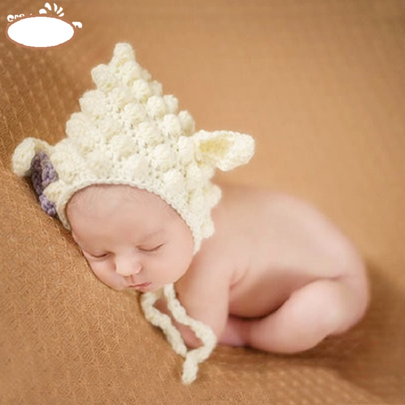 1Pc Baby Girl White Sheep Hat Handmade Crochet Cotton Newborn Baby Girl Photography Props Fotografia Costume For Infant Hat Cap(China (Mainland))