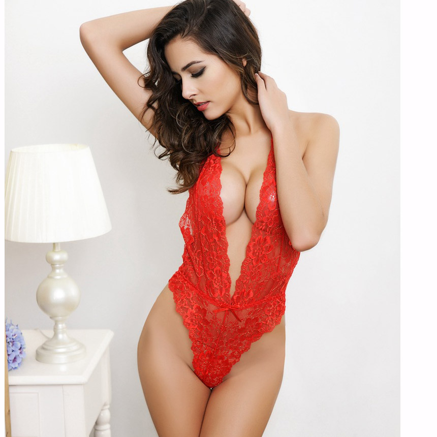 2016 Sexy Lingerie new black and red Lace Teddy One piece new hot Set Sleepwear costume Kimono Underwear Uniform M208(China (Mainland))