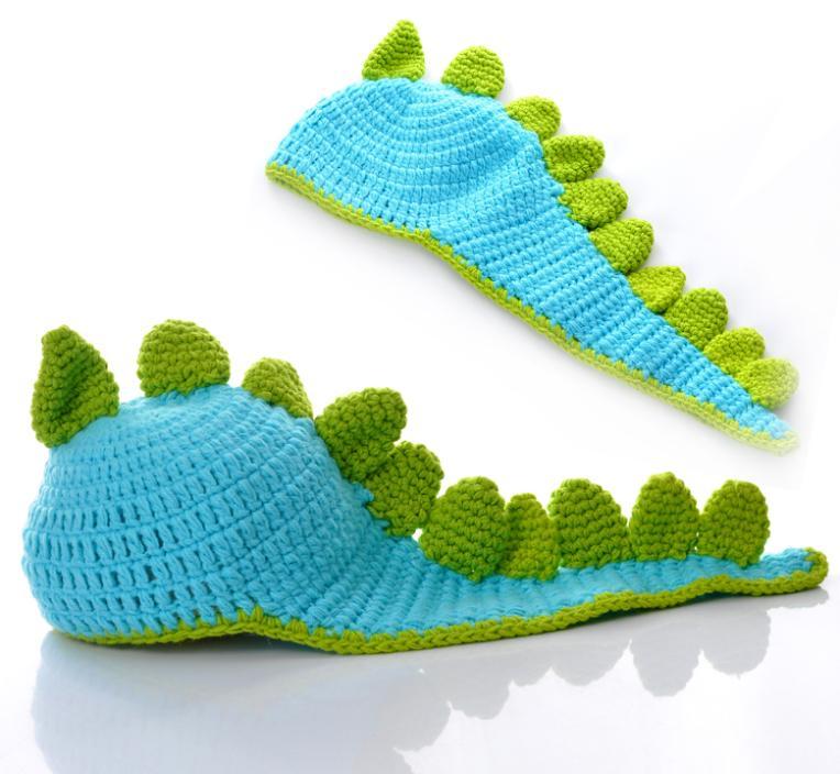 1PC Skyblue Dinosaur Handmade Knit Crochet Baby Beanie Hat Cap 53x30cm E00684(China (Mainland))