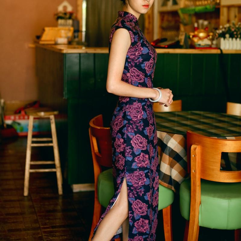 M&amp;T 2016 Cheongsam  spring and summer new arrival vintage linen sleeveless medium-long chinese qipao dark rose Одежда и ак�е��уары<br><br><br>Aliexpress