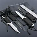 Wholesale 4 Pcs lot Stainless Steel 440C Military Diving Knife Set Pocket Camping Knife With Leather