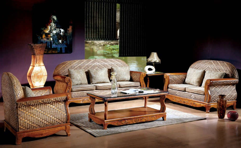 Rattan Furniture The Living Room Sofa Combination Sofa Table Cabinet In Antique Furniture Sets
