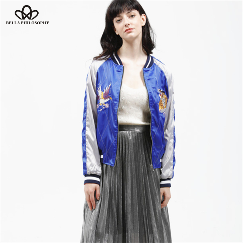 Bella Philosophy 2016 spring two sides wear reversible stain sateen embroidery souvenir bomber jacket no padded real photo(China (Mainland))