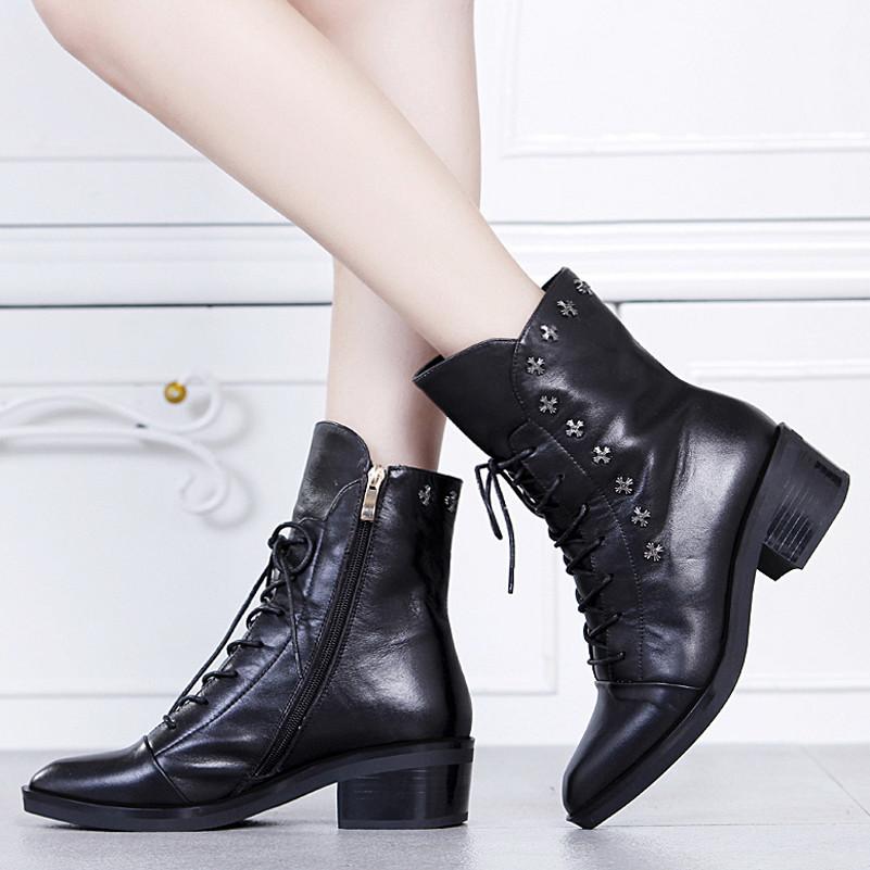 Здесь можно купить  2016 new arrive plus size 34-41 square toe med heels women autumn boots fashion genuine leather boots zipper rivets ankle boots  Обувь