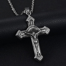Buy New Accessories 316L Stainless Steel Cross Necklace Vintage Punk Rock Mens Jesus Cross Pendant Necklaces Christmas Gift for $2.81 in AliExpress store