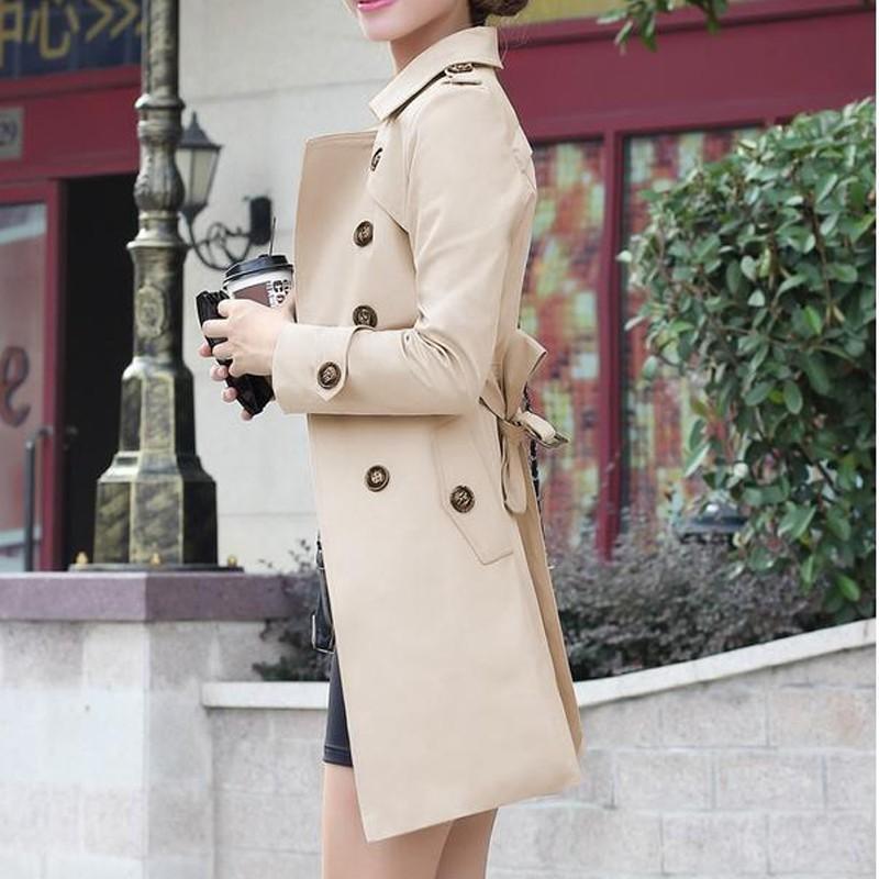 Women Trench 2015 New Autunm Winter Coat Slim Fashion Plus Size Medium-Long Windbreaker Patchwork OL Outwear (2)