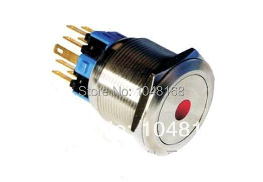 LED Metal pushbutton switch 25mm /self-locking / Waterproof / High Life/single point of light-emitting IlluminatedMomentary(China (Mainland))