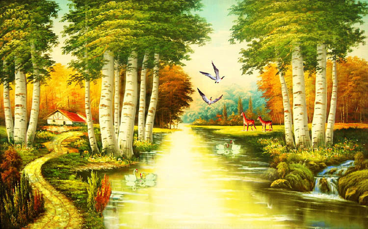 Nature river since the design of modern household wall paint murals background wallpaper with high quality wall paper(China (Mainland))