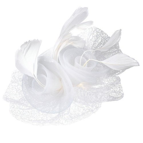 High Quality White Organza Feather Flower Corsage Hair Clip Wedding Fascinator(China (Mainland))