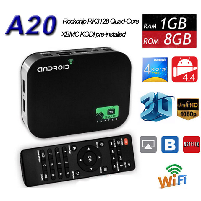 40PCS A20 Quad Core Android 4.4 RK3128 Smart Tv Box AV XBMC RJ45 HDMI 1080P WIFI with Remote Control 8G 1G HDD Media Player(China (Mainland))