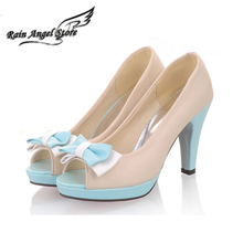2016 summer sandals sweet peep toes bow pumps high heel platform candy color princess shoes butterfly ladies girls elegant