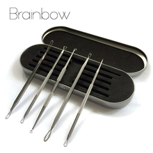 5pc/Set Acne Needle with Sliver Box Stainless Steel Blackhead Remover Tool Comedone Extractor Pimple Removal Kit Facial Cleanser(China (Mainland))
