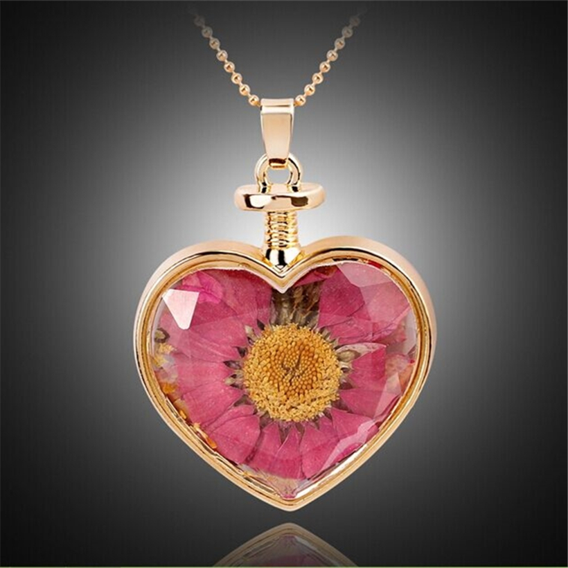 2016 Fashion Statement Chain Necklace For Women Original Crystal DIY Natural Dried Flowers Necklaces Pendants Heart Necklace(China (Mainland))