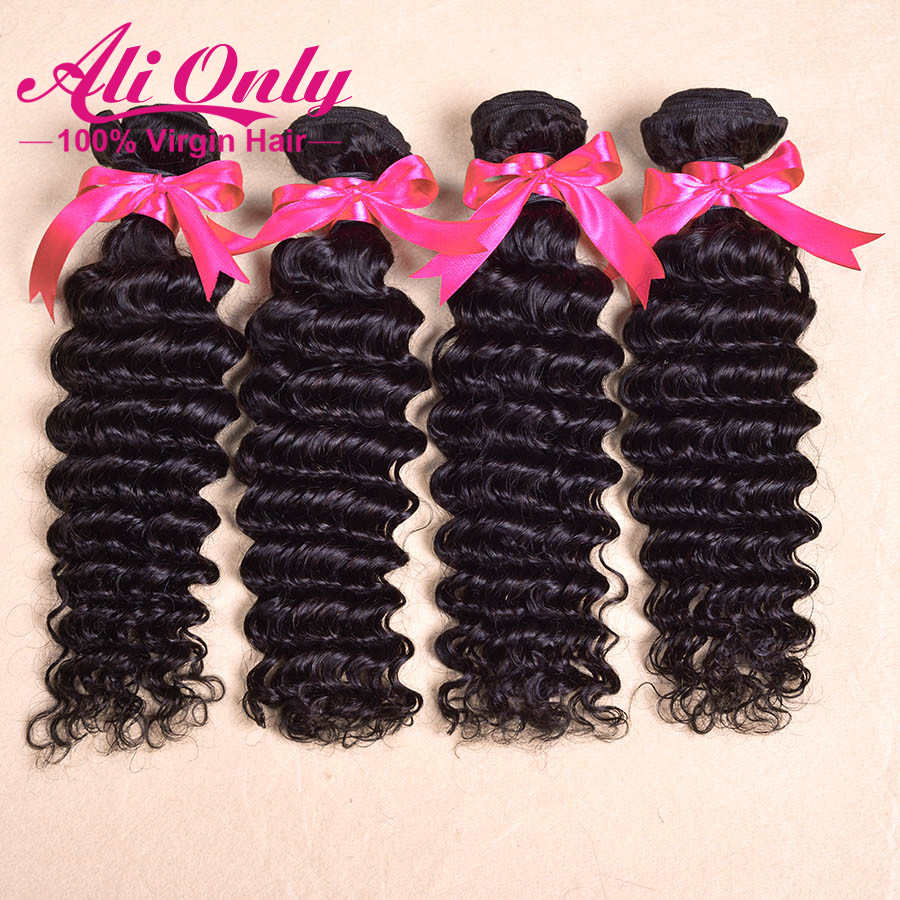 Only hair brazilian virgin hair extension human hair weave deep wave 4 pcs/lot free shipping brazilian deep wave hair mix length