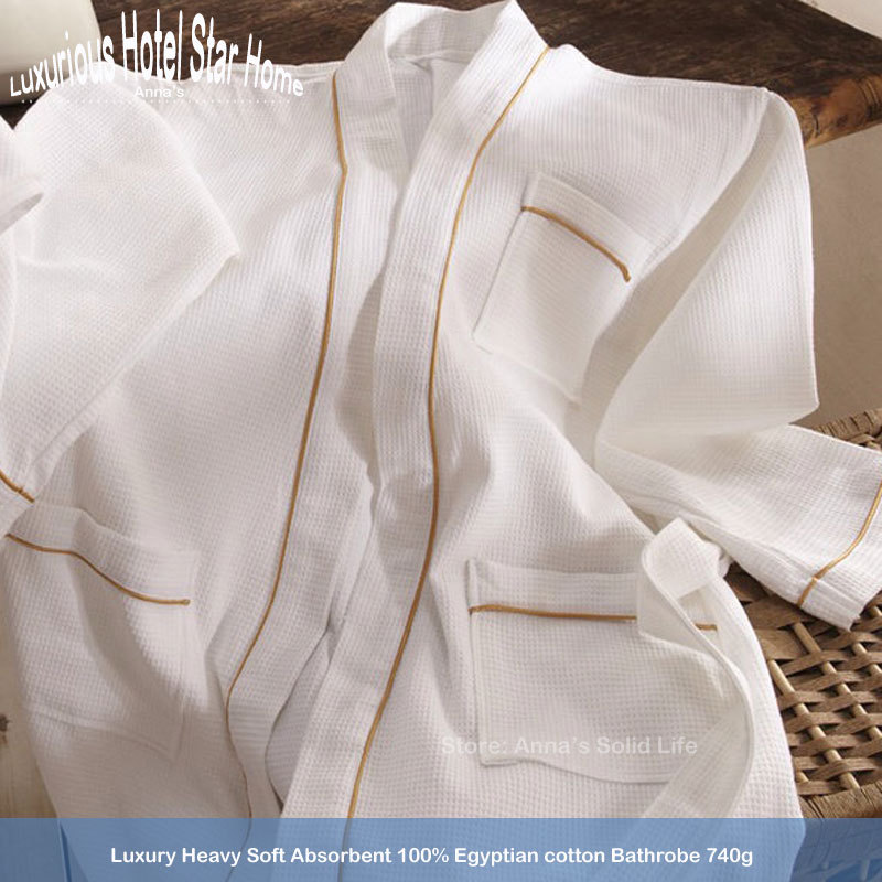 Luxury Men&Women Spring Pakistan Cotton Waffle Bathrobe 740g with Piping decoration Hotel Home Spa Robes from Anna's Solid Life(China (Mainland))