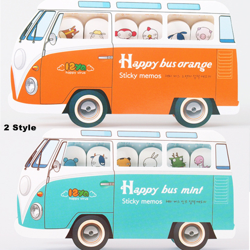 1Pcs Post it Cute Happy Bus Sticky notes Kawaii Memo pads 8 style Notepad stickers Paper Papeleria Point marker Stationery notas(China (Mainland))
