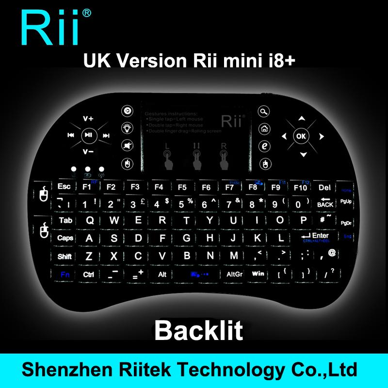 Hot Selling 2.4G Rii Mini i8+ Wireless Keyboard Qwerty Touchpad Backlit Keybord for HTPC Andorid/Smart TV Box PC gamingTeclado(China (Mainland))