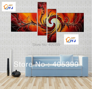 5PCS Red Orange Color Large Handmade Modern Canvas Oil Painting Wall Art ,Free Shipping Worldwide JYJ003
