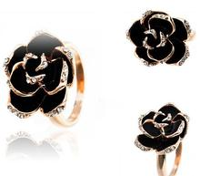 Korea high-grade jewelry ring version of the black roses opening ring for women R89