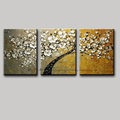 3 piece canvas wall art tree abstract knife acrylic painting flower decoration painting oil canvas picture