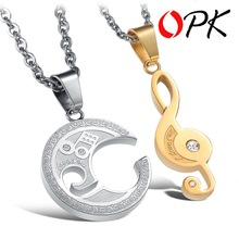 OPK 2015 Best Selling STAINLESS STEEL Puzzle Music Note Necklace for couples Unique Design Cute Style 822(China (Mainland))