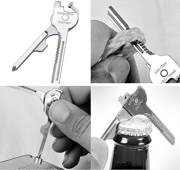 Ключ брелок мультитул 6 в 1 хранит в себе зубчатое и прямое лезвие ножа,отвертку,открывалку.Купить по акции. Цена 340 рублей. Доставка бесплатно!