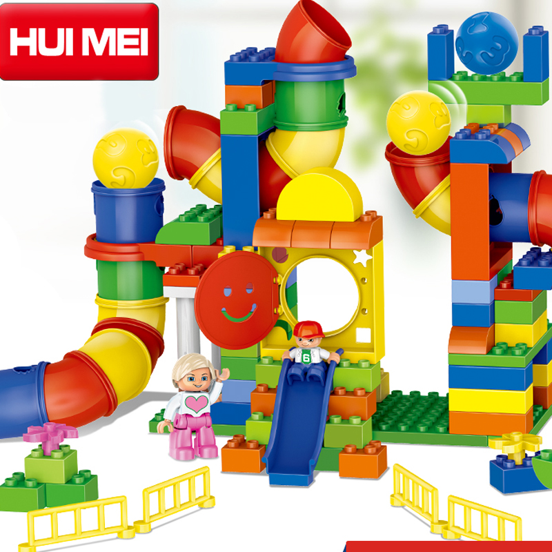 Kids Toys Building Blocks Assembled toy Compatible Minifigures magformers large particles Plastic block channel bricks 138 PCS