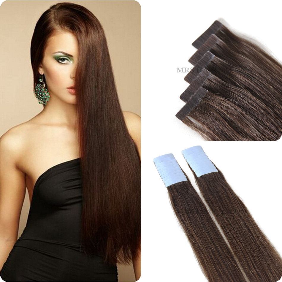 Cabelo Humano 4 Tape In Human Remy Hair Extensions Use Strong Blue